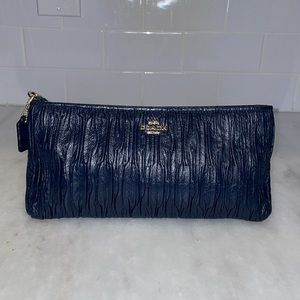 Coach Navy Pleated Leather Clutch/Wallet